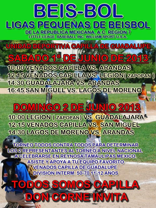 Beisbol ligas pequeñas 1 y 2 de Junio 2013 Unidad deportiva Capilla de Guadalupe